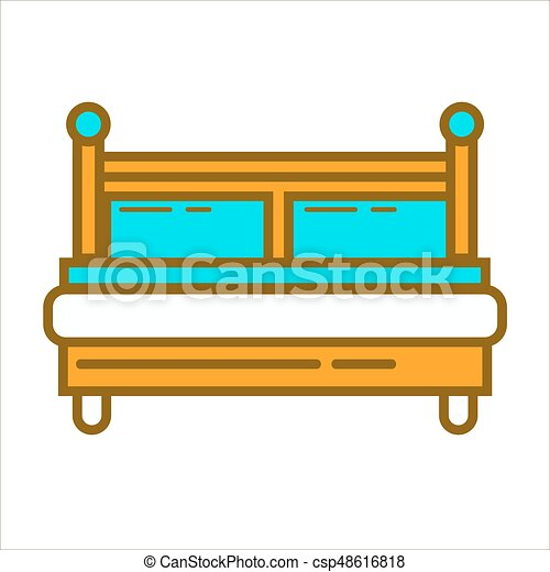 bed with blue pillows vector illustration of simple wooden rh canstockphoto com Vector Graphics Clip Art Design Clip Art