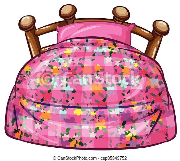 Bed with pink sheet and pillow - csp35343752