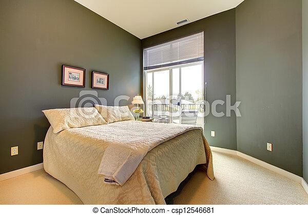 Bedding., gris, murs, wiht, chambre à coucher, blanc vert images ...