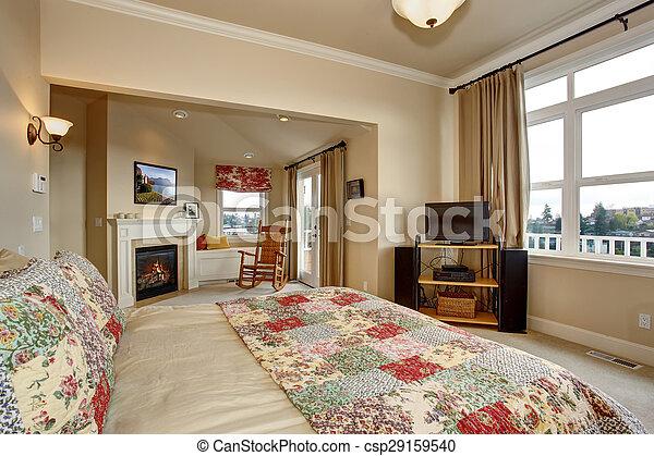 Bedding., gulvtæppe, luksus, quilt, soveværelse. Bedding.,... stock ...