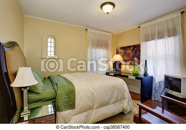 bedding., plancher, bois dur, petit, vert, beige, chambre à coucher,  intérieur, blanc