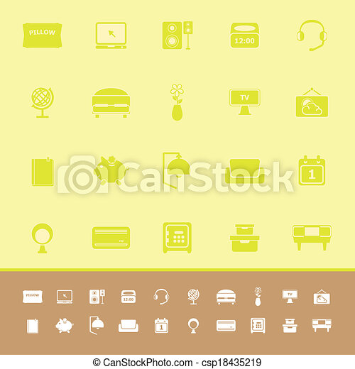 Bedroom color icons on yellow background - csp18435219
