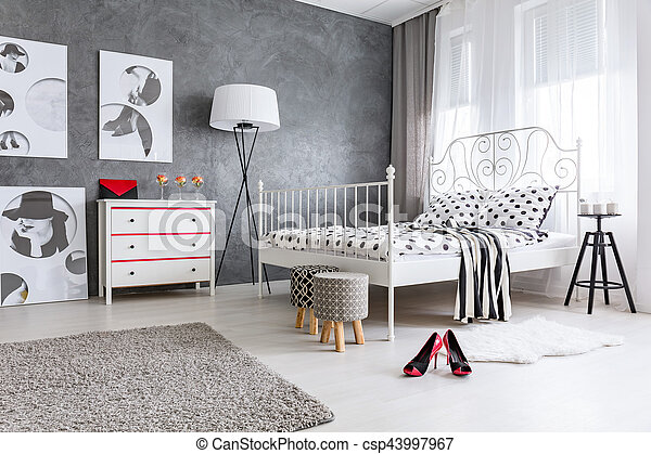 Bedroom designed for woman - csp43997967