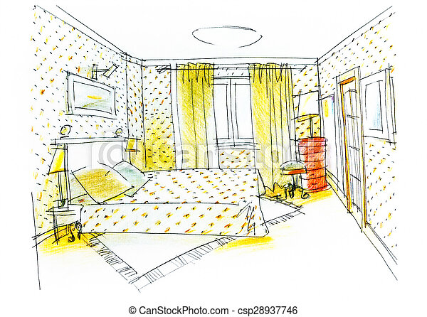 Bedroom Drawing With Color Pencil Master Bedroom For Two Colorful