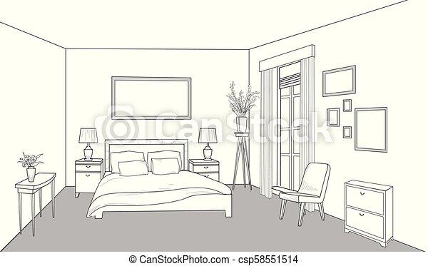 Bedroom furniture. Interior outline sketch. Vintage style bed room decor