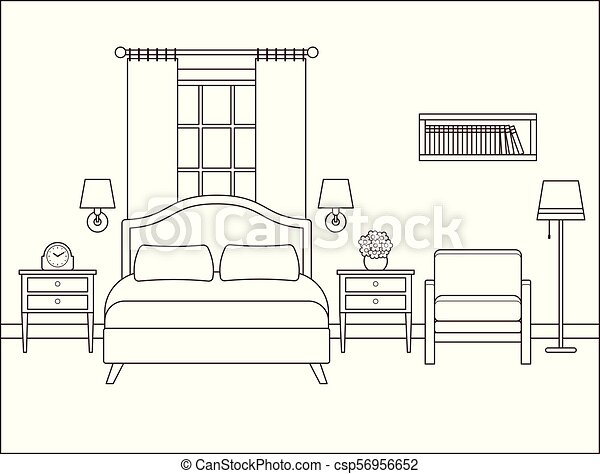 Bedroom Interior Hotel Room With Double Bed Vector