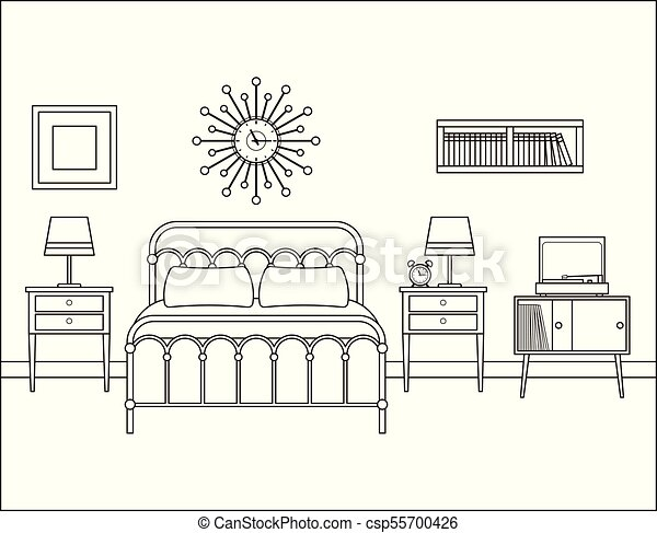 Bedroom Interior Hotel Room With Double Bed Vector Illustration