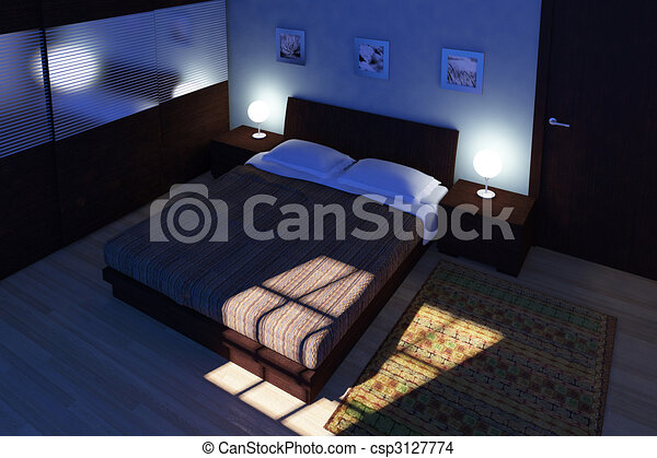 Fine 3d Image Of Bedroom Night Time Canstock