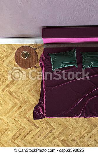 Bedroom scene, 3D rendering - csp63590825