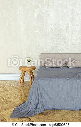 Bedroom scene, 3D rendering - csp63590826