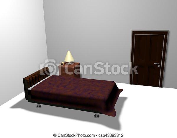 Bedroom three-dimensional graphics work - csp43393312