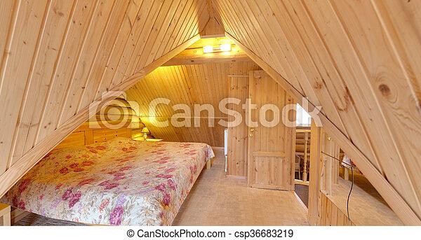 bedroom with a big bed - csp36683219