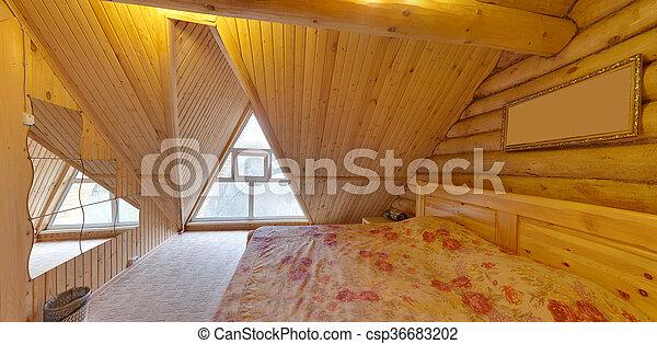 bedroom with a big bed - csp36683202