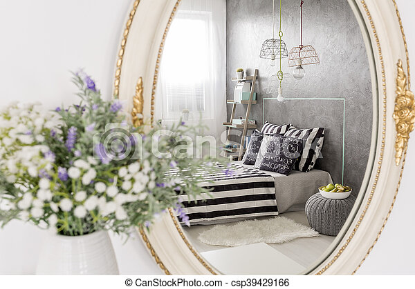 Bedroom With Touch Of Luxury Mirror Reflection Of A New Design Bedroom Stylish Round Mirror With White Frame