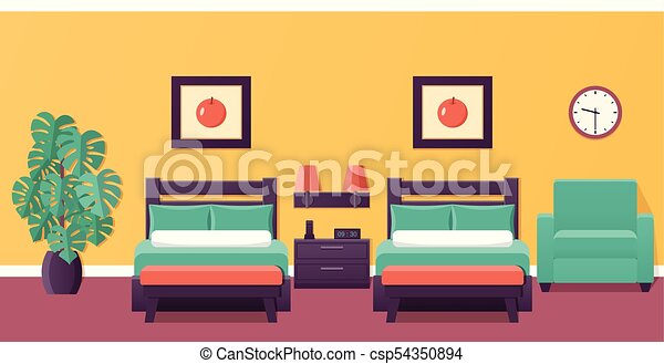 Bedroom With Two Beds. Vector Illustration. Flat Design.