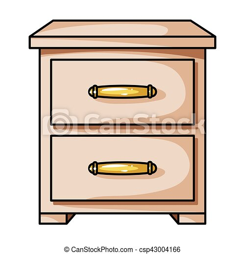 Bedside table clipart  Bedside table icon in cartoon style isolated on white... clip art ...