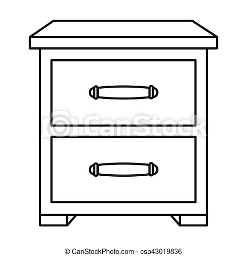 Bedside table clipart  Vectors of Bedside table icon in outline style isolated on white ...