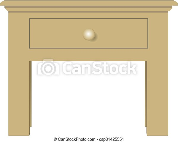 Bedside table clipart  Classical bedside table with one drawer. vector... clipart vector ...