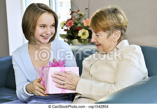 bedstemoderen, granddaughter, besøge - csp1542854