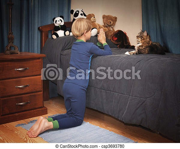 Bedtime Prayers Boy Kneeling At Bedside Saying Prayers In
