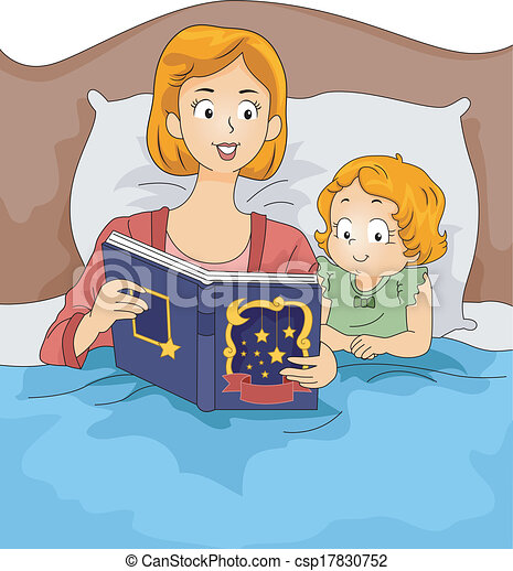 illustration of a mother reading a bedtime story to her daughter rh canstockphoto com clipart bedtime routine bedtime clipart free
