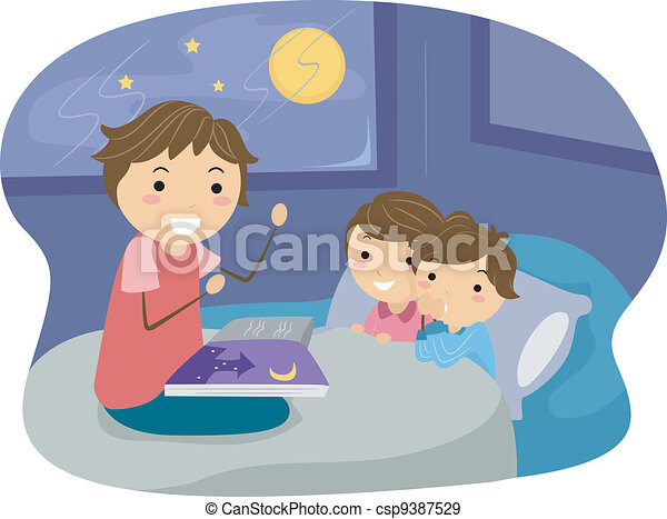 illustration of kids listening to a bedtime story eps vectors rh canstockphoto com bedtime reading clipart bedtime routine clipart free