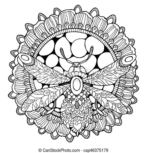 Bee And Flower Coloring Book Vector Illustration