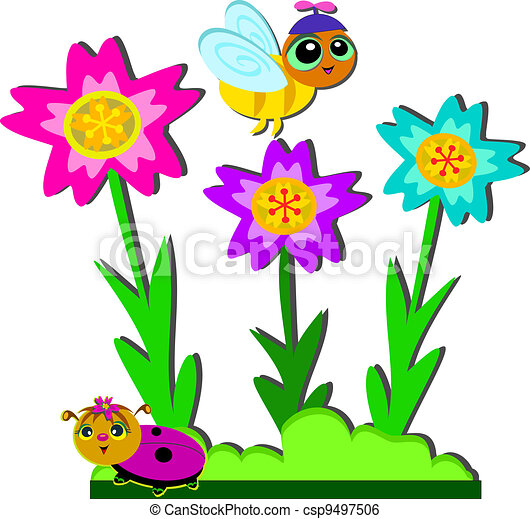 bee and ladybug garden here is a flower garden with a bee and ladybug rh canstockphoto com clipart gardener free clip art garden images
