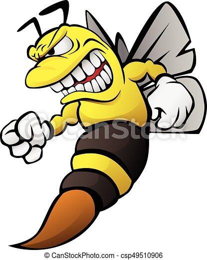 Bee Cartoon Illustration Aggressive Funny Cartoon Bee Wasp Hornet