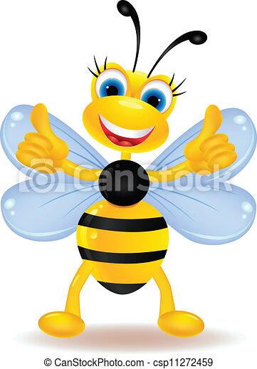 Bee cartoon thumb up  - csp11272459