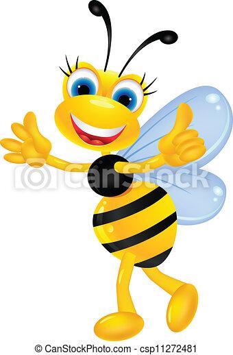 Bee cartoon thumb up - csp11272481