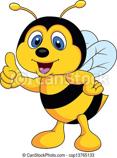 Bee cartoon thumb up - csp13765133