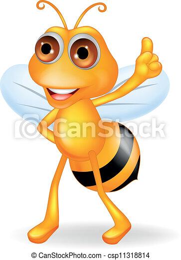 Bee cartoon with thumb up - csp11318814