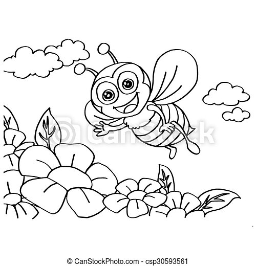 Bee Coloring Pages vector - csp30593561