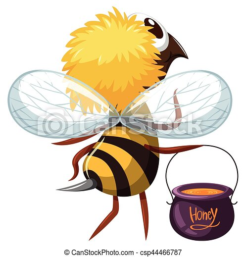 Bee flying with pot of honey - csp44466787