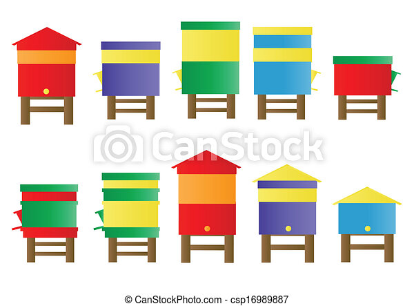 Bee Hive Vector Background Set