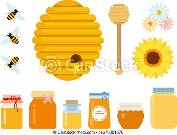 Bee hive, wooden honey spoon, three bees, wildflowers and glass jars with honey of different sizes flat isolated - csp76881576