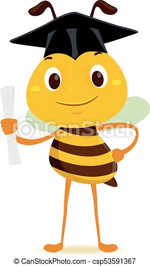 Vector illustration of bee holding a diploma while wearing ...