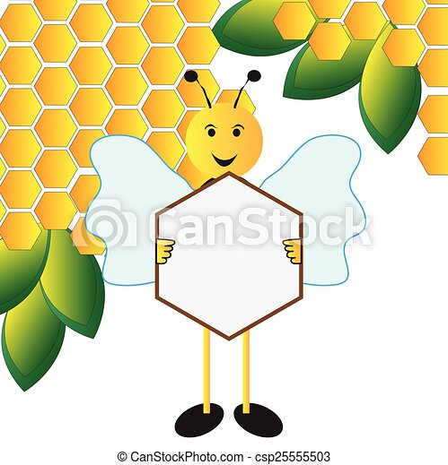 Bee holding a sign board - csp25555503
