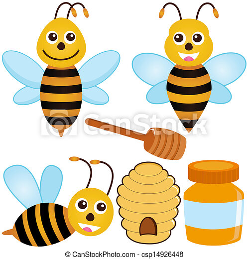 a colorful set of cute vector icons bee honey beehive eps vector rh canstockphoto com honey bee hive clip art free honey bee hive clipart