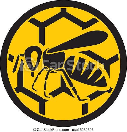 bee icon (honey bee sign) - csp15282806