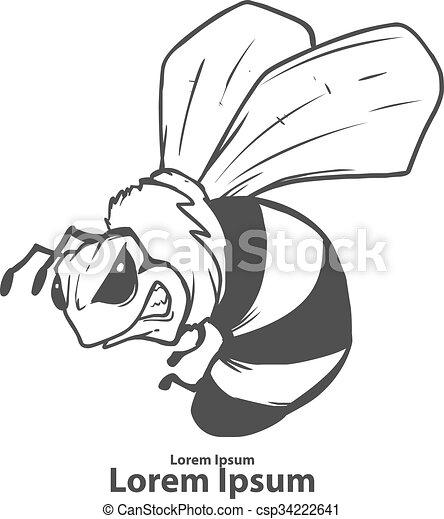 bee logo angry - csp34222641