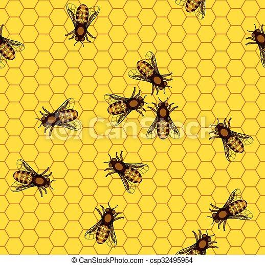Bee on honeycomb pattern - csp32495954