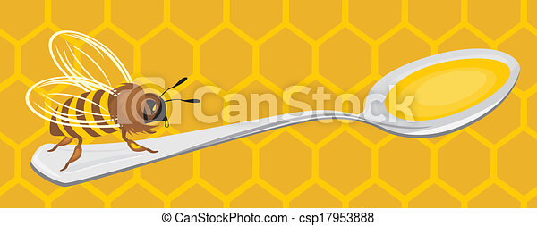 Bee on the honeycomb background - csp17953888