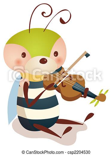 bee playing  violin - csp2204530