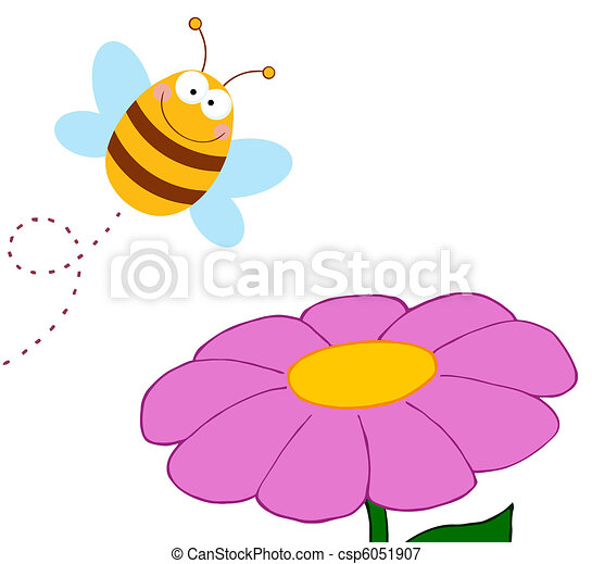 Bee Pollinating A Purple Daisy - csp6051907