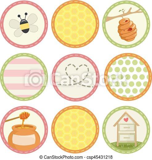 Bee round sticker designs csp45431218