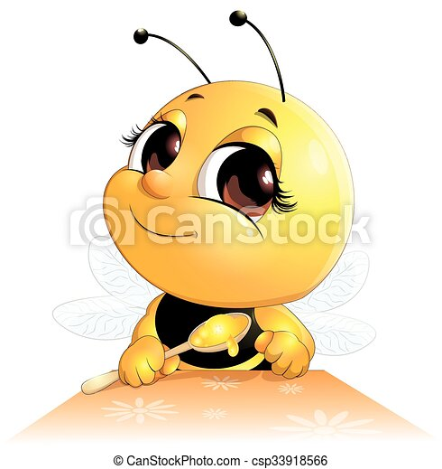 bee sits with a spoon - csp33918566