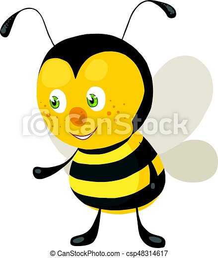 small friendly bee waiting for orders from the queen vector clip art rh canstockphoto com bee vector file bee vector art