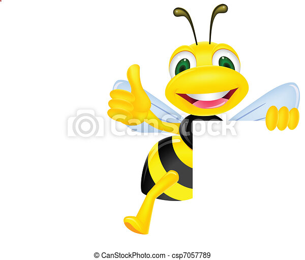 Bee with blank sign - csp7057789